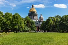 St. Petersburg. Saint Isaac`s Cathedral. Nice view of the cathedral and park royalty free stock photos