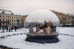St Petersburg, scène de nativité de Noël images libres de droits