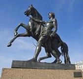 St. Petersburg, sculpture on Anichkov bridge Stock Photo