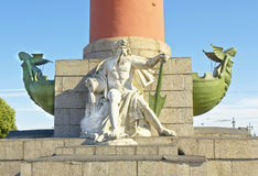 St. Petersburg, sculptures on Rostral column Royalty Free Stock Photography