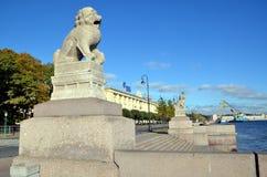 ST. PETERSBURG, SCULPTURES SHIH TZU. St. Petersburg, Russia.  Chinese (Manchurian) sculptures Shih Tzu on Petrovskaya quay of  Neva river Stock Image