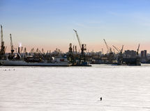 St. Petersburg. Seaport. Russia.View from the Gulf of Finland covered with ice Stock Photography