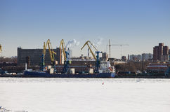 St. Petersburg. Seaport. Russia.View from the Gulf of Finland covered with ice Royalty Free Stock Images