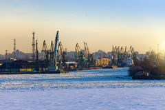 St. Petersburg. Seaport. Russia.View from the Gulf of Finland covered with ice Stock Image