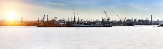 St. Petersburg. Seaport. Russia.View from the Gulf of Finland covered with ice. Panorama Royalty Free Stock Image
