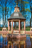 St Petersburg sightseeing in Summer garden arbour in the circle of water Stock Photo