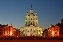 St Petersburg Smolny domkyrka Royaltyfria Foton