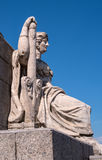 St. Petersburg. South rostral column. Female figure allegorically represents the river Neva. Right side. Earlier rostral column represented the Navy and served Royalty Free Stock Photography