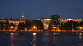 St. Petersburg. The spire of the Admiralty on the background of the night sky. stock footage