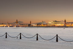 St. Petersburg. Spit of Vasilyevsky Island in a winter night Royalty Free Stock Image