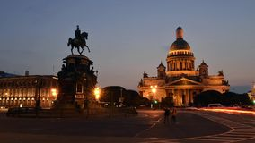 St Petersburg St Isaac Cathedral And Monument To Nicholas 1st Time Lapse Photography stock video