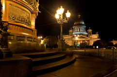 St. Petersburg, St. Isaac's Cathedral at night   Royalty Free Stock Images