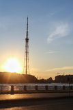 St. Petersburg TV tower at sunset. Royalty Free Stock Photos