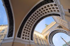 St. Petersburg Under Arches. A wide angle view of the gate to the Winter Palace, St. Petersburg, Russia Royalty Free Stock Photography