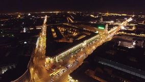 St. Petersburg unique nigh aerial view. Evening illuminated downtown historic center of the city Nevskiy Prospect. Cars. Rivers. Beautiful drone footage from stock video footage