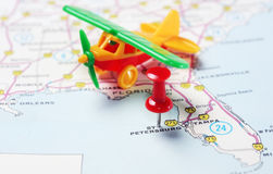 St. Petersburg USA Florida map airplane. Close up of St Petersburg Florida USA map with red pin and airplane toy - Travel concept stock image