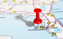 St. Petersburg USA Florida map. Close up of St Petersburg Florida USA map with red pin - Travel concept royalty free stock photos