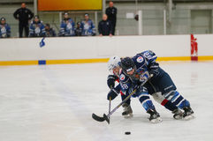 St. Petersburg van de gelijkedinamo van het vrouwenijshockey versus Biryusa Krasnoyarsk stock foto's