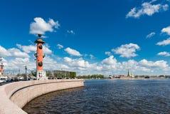 St. Petersburg. Vasilyevsky Island in summer day. View of St. Petersburg. Vasilyevsky Island in summer day Royalty Free Stock Photography