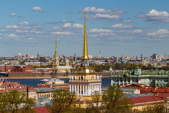 St. Petersburg. View from St. Isaac's Cathedral  in the direction of the Admiralty. Neva River. Peter-Pavel's Fortress Stock Photography
