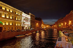 ST. PETERSBURG. View of the Moika River at night. ST. PETERSBURG - JULY 14, 2014: View of the Moika River at night Royalty Free Stock Photo