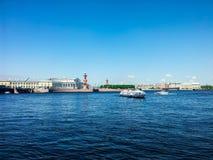 St. Petersburg view on Neva river Stock Photos