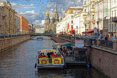 St. Petersburg. View at one of the many channels of St. Petersburg Royalty Free Stock Photo