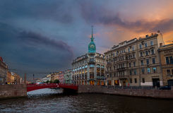 St. Petersburg view of the red bridge Royalty Free Stock Photography
