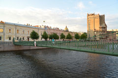 St. Petersburg. View of suspended Pochtamtsky Bridge through the Royalty Free Stock Photography