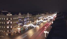 St Petersburg Vista di notte dal tetto del Nevsky Prospekt Immagine Stock Libera da Diritti