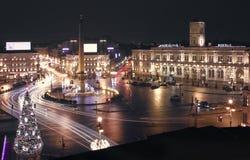 St Petersburg Vista di notte della città dal tetto Fotografie Stock Libere da Diritti