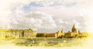 St Petersburg Vue sur la cathédrale d'Isaac de saint, le palais d'Amirauté et d'hiver Photographie stock