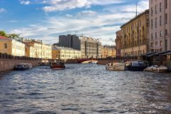 St. Petersburg. Walking and sailing across the river ship Meteor stock images