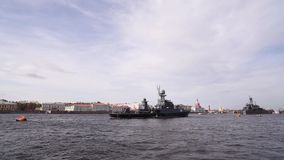 St. Petersburg. Warships On The Neva River stock video footage