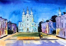 St Petersburg watercolor Smolny Cathedral Stock Photo