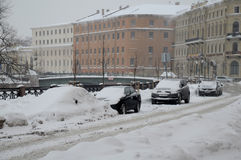 St.Petersburg in The Winter. Street in St.Petersburg during a heavy snowfall during Russian Christmas Royalty Free Stock Image