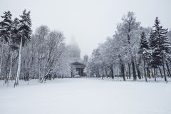 Saint Isaac`s cathedral in St. Petersburg, Russia on a snowy winters day. St. Petersburg in winter. Saint Isaac Cathedral in Saint Petersburg, Russia Stock Images