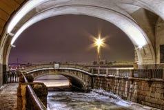 St Petersburg, Winterkanal Stockfotos