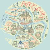 St- Petersburggekritzel-Karte lizenzfreie abbildung