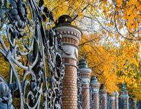 St- Petersburgherbstansichtzaun des Mikhailovsky-Gartens in St Petersburg, Russland am Herbsttag Stockfotos