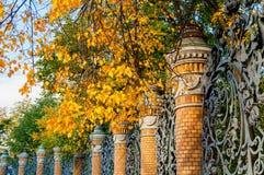St- Petersburgherbstansichtzaun des Mikhailovsky-Gartens in St Petersburg, Russland am sonnigen Tag des Herbstes Lizenzfreies Stockfoto