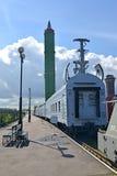 ST Petersburgo, Rusia Una vista de la unidad del coche de abastecimiento y del misil balístico intercontinental en el pla Fotografía de archivo libre de regalías