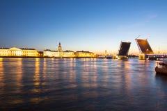 St- Petersburgskyline nachts weiße mit gezogener Palastbrücke, Peter- und Paul-Festung, Rostral Spalten und Kunstkamera, Russi Stockfoto