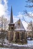 St. Petrikirche in Muehlhausen. In winter under blue sky Royalty Free Stock Photo