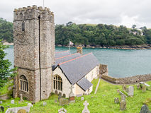 St Petrox Church Dartmouth Devon England. Scenic view of St Petrox Church on the estuary of the River Dart in Dartmouth, Devon, England stock photography