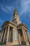 St. Philip's Episcopal Church - Charleston SC. Built in 1836 (spire completed in 1850) - Stuccoed brick with imposing tower, 3 Tuscan pedimented porticoes Stock Photo