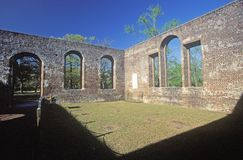 The St. Phillips Church ruins built by the British American Revolution in 1756 in Brunswick South Carolina royalty free stock image