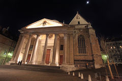 St. Pierre Cathedral square by night, Geneva, Switzerland Stock Photos