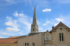 St Pierre du Marche church tower, Loudun Stock Photo