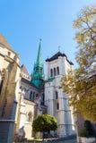 St Pierre katedra, adoptujący domowy kościół John Calvin, Ge Zdjęcia Stock
